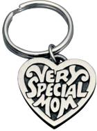 Engraved Gift : Pewter Very Special Mom Heart Keyring