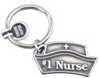 Engraved Gift : #1 Nurse Pewter Keyring