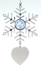 Engraved Gift : Blue Crystal & Silver Snowflake Ornament /w Heart