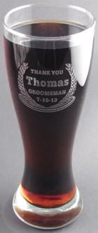 Engraved Gift : 23oz Etched Glass Beer Pilsner