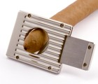 Engraved Gift : Silver Plated Ribbed Cigar Cutter