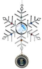 Click for Larger Image -- Blue Crystal & Silver USAF Snowflake Ornament