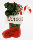 Click for Larger Image -- Puppy in Stocking Resin Ornament -Black