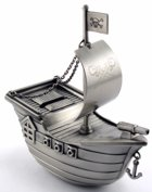 Engraved Gift : Pirate Ship Coin Bank