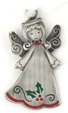 Engraved Gift : Pewter Enamel Holly Angel Ornament