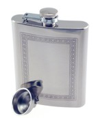 Engraved Gift : 8oz Greek Key Pattern Hip Flask